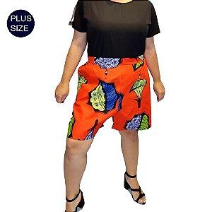 Shorts Tecido 100%  Algodão Plus Size Estampado Folhagem Africano