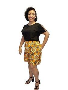 Shorts Tecido Plus Size Estampado Geométrico Africano