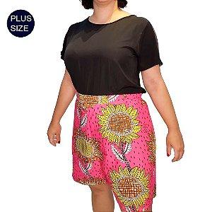Shorts Tecido Plus Size Estampado Pink Africano