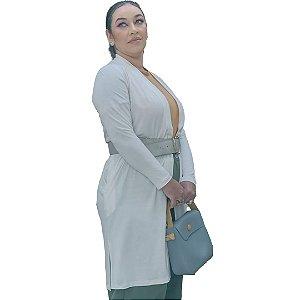 Cardigan Médio Plus Size em malha de Viscose com Elastano