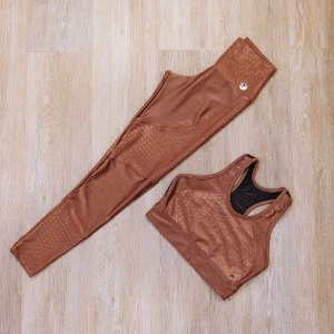 Calça legging metalizada - Top com tule