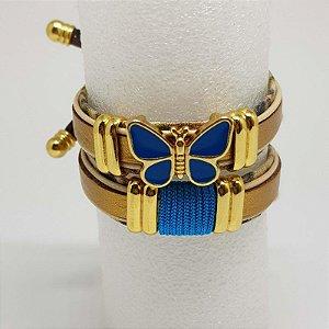 Conjunto de pulseira infantil de borboleta azul e animal print