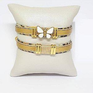 Conjunto de pulseiras infantil dourado