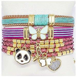 Conjunto de pulseiras infantil panda