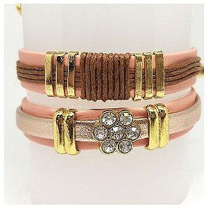 Conjunto de pulseiras infantil flor rosa