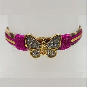 Pulseira infantil de borboleta brilho