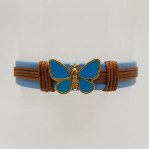 Pulseira infantil de borboleta azul