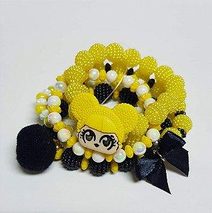 Conjunto de pulseiras de bolinhas amarelas