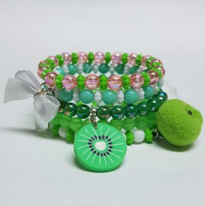 Conjunto de pulseiras de bolinhas kiwi