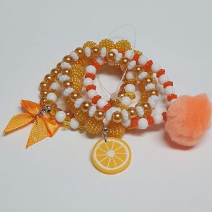 Conjunto de pulseiras de bolinhas laranja