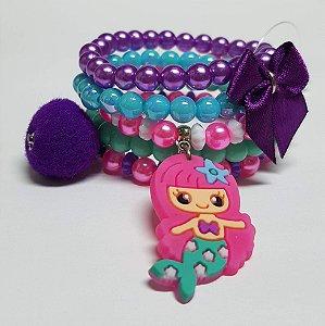 Conjunto de pulseiras de bolinhas sereia turquesa