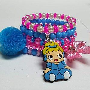 Conjunto de pulseiras de bolinhas princesa azul