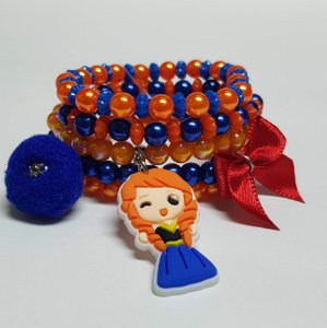 Conjunto de pulseiras de bolinhas princesa ruiva