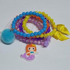 Conjunto de pulseiras de bolinhas sereia lilás