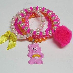 Conjunto de pulseiras de bolinhas urso rosa