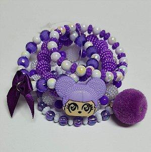 Conjunto de pulseiras de bolinhas princesa roxa