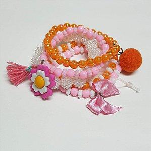 Conjunto de pulseiras de bolinhas flor rosa