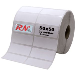 Etiqueta Térmica Adesiva 50x50 mm - 2 Colunas 32 Metros - rolos