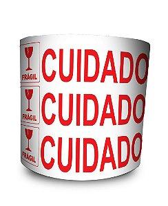Etiquetas Adesivas Cuidado Frágil - 1000 Etiquetas - 2 Rolos