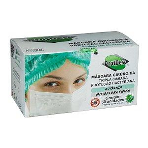 Caixa de Máscara Cirúrgica Tripla Descartável Branca com 50 Máscaras Protdesc