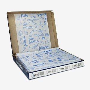 Papel Acoplado Personalizado para Frios 30x38cm com Barreira de Gordura com 400 Folhas