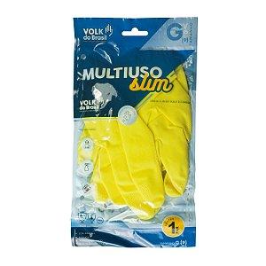 Luva de Látex Amarela Grande (G) para Limpeza Volk