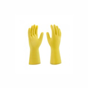 Luva de Látex Amarela Pequena (P) para Limpeza