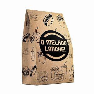 Saco de Papel Kraft SOS 20x36cm 10kg Personalizado Padrão para Delivery de Lanches com 100 Embalagens