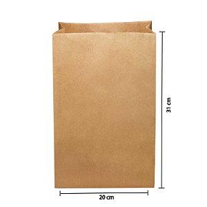 Saco de Papel Kraft SOS 20x31cm 05kg Liso para Delivery com 250 Embalagens