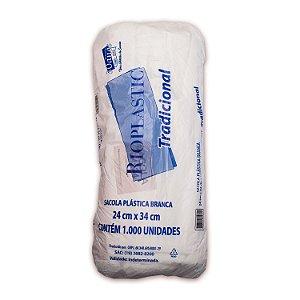 Sacola Plástica 24x34cm Tradicional Branca com 1000 Sacolas Rioplastic