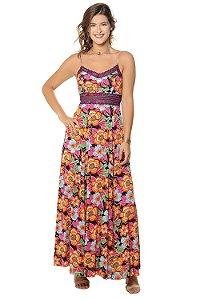 Vestido Longo Ana Roxo Flor