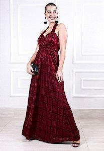 Vestido longo Decote Transpassado Marsala
