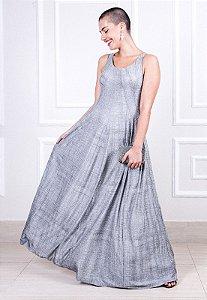 Vestido Longo Recortes - Prata