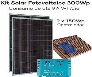 Kit Energia Solar Fotovoltaica 300Wp – até 974Wh/dia