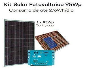 Kit Energia Solar Fotovoltaica 95Wp – até 276Whdia