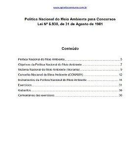 Política Nacional do Meio Ambiente (Lei nº 6.938/1981)  para Concursos Públicos