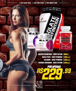 COMBO: Isolate Definition 900g + Bcaa 100cps + Thermo Abdomen 120cps + Colageno 100cps