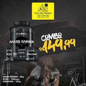 COMBO: Mass Gainer 3kg + Creatine 150g + Bcaa 2400 100cps