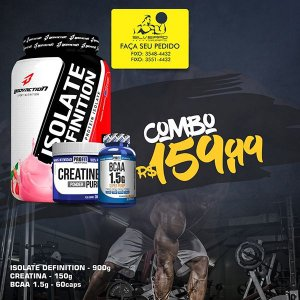 COMBO: Isolate Definition 900g + Bcaa 1.5g 60cps + Creatine 150g