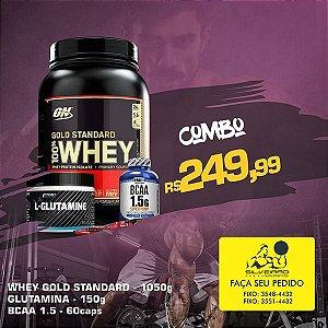COMBO: 100% Whey Gold Standart 1090g + Glutamine 150g + Bcaa 1.5g 60cps