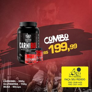 COMBO: Carnibol 907g + Glutamine 150g + Bcaa 2:1:1 90cps