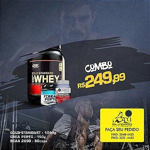 COMBO: 100% Whey Gold Standart 1090g + CreaPepto 150g + Bcaa 2600 60cps