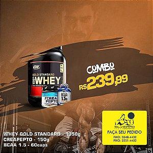 COMBO: 100% Whey Gold Standart 1090g + CreaPepto150g + Bcaa 1.5g 60cps