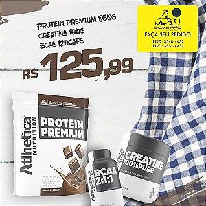 COMBO: Protein Premium 850g + Creatine 100g + Bcaa 2:1:1 120cps