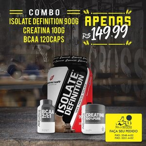 COMBO: Isolate Definition 900g + Bcaa 2:1:1 120cps + Creatine 100g