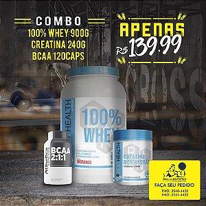 COMBO: 100% Whey 900g + Creatina 240g + Bcaa 120cps