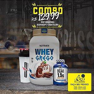 COMBO: Whey Grego 900g + Bcaa 1.5g 60cps + Coqueteleira