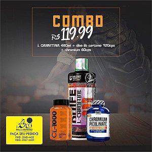 COMBO: L-Carnitina 480ml + Oleo de Cartamo 120cps + Chromium Picolinate 60cps