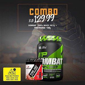 COMBO: 100% Whey Combat 907g + Pré-Treino 100g