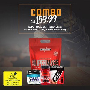COMBO: Super Mass 3kg+ Pré-Treino 100g + CreaPepto 150g + Bcaa 90cps